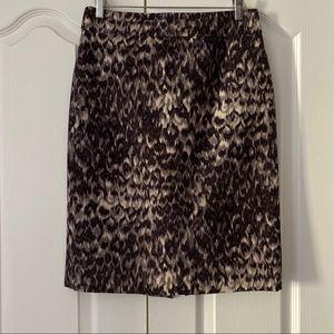 J. Crew Watercolor Leopard Wool Silk Pencil Skirt